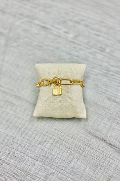 Virtue XL Paperclip Bracelet with Gold Lock Charm