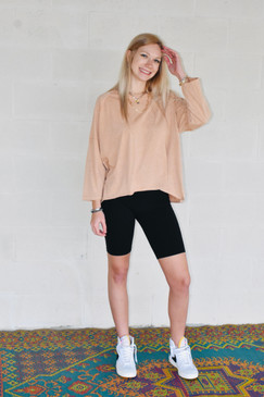 Madi Mustard Seed Loose Fit Back Seam Top in Pink Sand