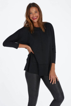Spanx Perfect Length Top Dolman Sweatshirt Black