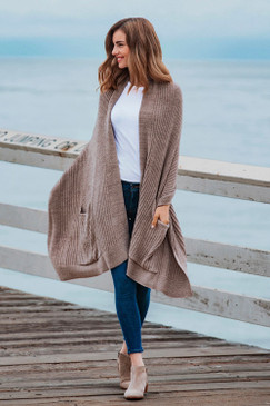 Barefoot Dreams CozyChic Lite® Travel Shawl Heathered Driftwood Taupe