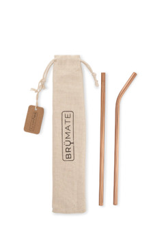 BruMate Stainless Steel Reusable Imperial Pint Straws  | Rose Gold