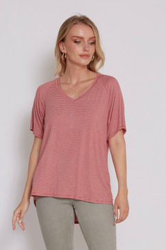 Another Love Taylor Stripe V Neck Tee Wild Rose