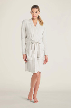 Barefoot Dreams CozyChic Lite® Ribbed Robe Heathered Silver / Pearl