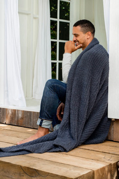 Barefoot Dreams CozyChic® Ribbed Throw Slate Blue