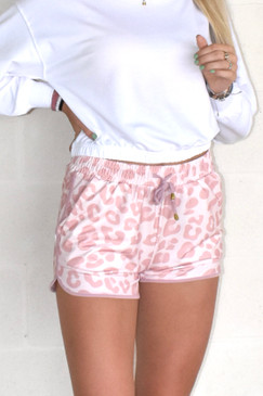 Jess Lea Drawstring Attracting Attention Pink Leopard Everyday Shorts