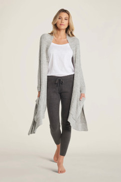 Barefoot Dreams CozyChic Lite® Travel Shawl Heathered Pewter / Pearl