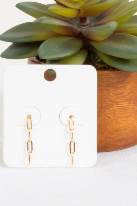 PS Lea Chain Link Drop Earrings Gold