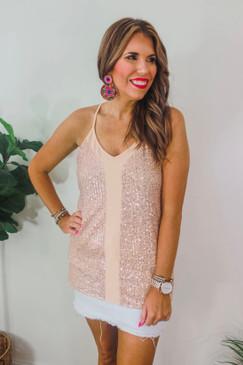 Jess Lea Starstruck Sequin Top Rose Gold