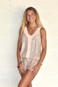 Kristen Jess Lea Starstruck Sequin Top Rose Gold