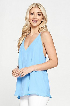Adrienne Solid Panel Front Tank Light Blue