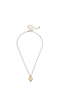 Canvas Macy Heart Charm Chain Necklace in Worn Gold
