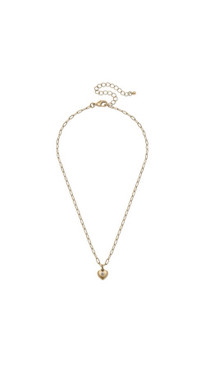 Canvas Gracie Delicate Heart Charm Necklace in Worn Gold