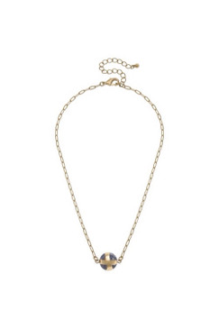 Canvas Addison Stone Bead Paperclip Chain Necklace in Grey Agate