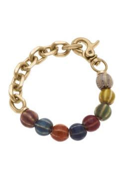 Canvas Mila Ceramic Bead & Chunky Chain Link Bracelet Multi