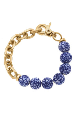 Canvas Paloma Chinoiserie & Chunky Chain Link Bracelet in Blue and White