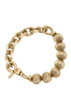 Canvas Mila Ribbed Ball Bead & Chunky Chain Link Bracelet in Worn Gold