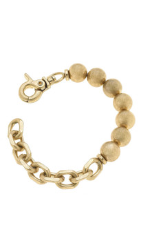Canvas Mila Ball Bead & Chunky Chain Link Bracelet in Worn Gold