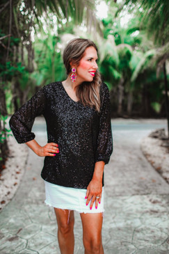 Jess Lea Star Of The Show Sequin Top Black