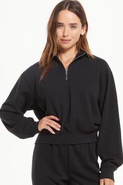 Z Supply Half Zip Sweatshirt Black