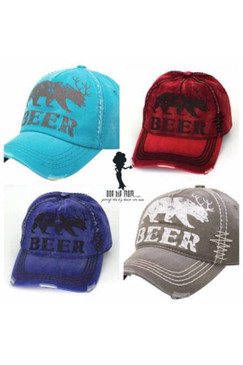 "Bear With Antlers ""Beer"" Vintage Style Baseball Cap"