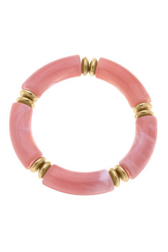 Canvas Lelani Disc Resin Stretch Bracelet in Pink