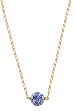 Canvas Willow Chinoiserie Necklace in Blue & White