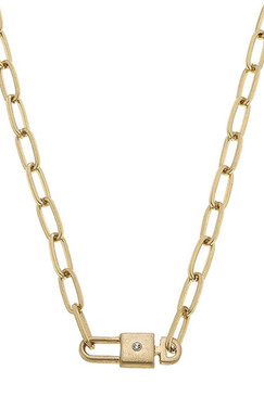 Canvas Harper Lock & Key Paperclip Chain T-Bar Necklace in Worn Gold
