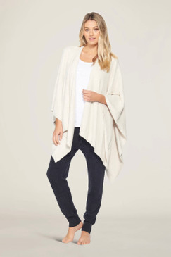 Barefoot Dreams CozyChic Lite® Weekend Wrap One Size Heathered Stone / Pearl