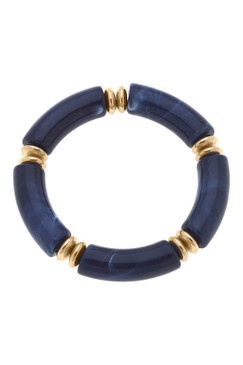 Canvas Lelani Disc Resin Stretch Bracelet in Navy 22566B-NV