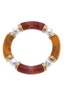 Canvas Lelani Resin Glass & Pearl Stretch Bracelet Rust Caramel  22465B-RU
