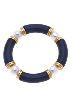 Canvas Lelani Resin Glass & Pearl Stretch Bracelet Navy 22465B-NV