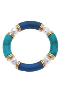 Canvas Lelani Resin Glass & Pearl Stretch Bracelet Teal 22465B-TL
