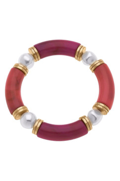 Canvas Lelani Resin Glass & Pearl Stretch Bracelet Fucshia Flame 22465B-BS