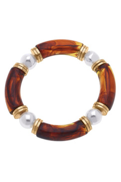 Canvas Lelani Resin Glass & Pearl Stretch Bracelet Tortoise  22465B-TO
