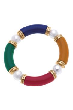 Canvas Lelani Resin Glass & Pearl Stretch Bracelet Multi 22465B-MU