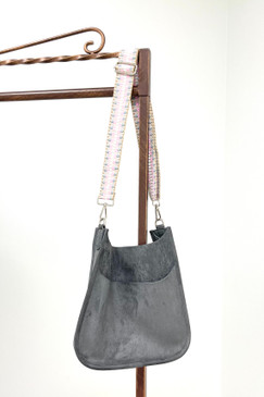 ah*dorned Classic Grey Faux Suede Messenger with Guitar Strap