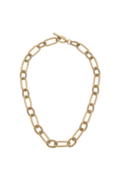 Canvas Lennon Twisted Metal Chain Link Necklace in Worn Gold 22404N-GD
