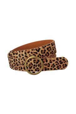 "Leopard Print Calf Hair Belt 1.5"""