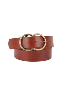 """Wide Double Circle Buckle Brown Leather Belt 1.5"""""""