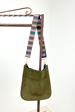 ah*dorned Classic Olive Faux Suede Messenger with Guitar Strap