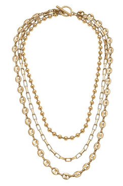 Canvas Elliot Layered Mixed Media Chain Necklace in Worn Gold