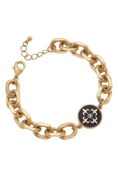 Canvas Hayden Fleur de Lis Chunky Chain Bracelet Black Enamel