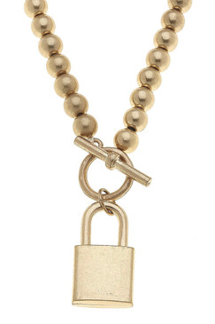 Canvas Grayson Padlock T-Bar Necklace in Worn Gold