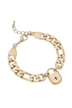 Canvas Whitney Padlock Chain Bracelet in Worn Gold