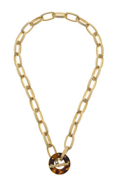 Canvas Tatum T-Bar Necklace in Tortoise Resin 21736N-GD