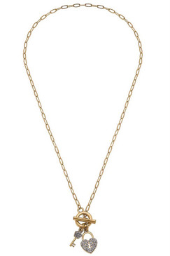 Canvas Base Metal Necklace With Worn Gold Plating
