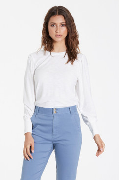 Another Love Kaelyn Bubble Sleeve Top White