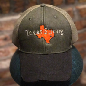 """Texas Strong"" Army Green with Orange Texas - 2017 Hurricane Harvey"