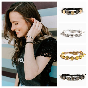 My Saint My Hero Benedictine Blessing Bracelet  - Multiple Colors Silver Medals Black Cording, Silver Medals Metallic Silver Cording, Gold Medals Metallic Gold Cording, Jet Black Medals Black Cording, Jet Black and Rose Gold Medals on Black Cording
