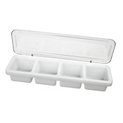 "18"" X 5"" X 3"", PLASTIC 4 COMPARTMENT BAR CADDIES W/COVER"
